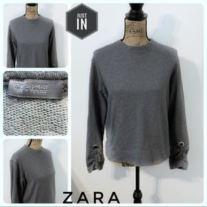 Zara Gray Tie Sleeve Sweatshirt Size Small